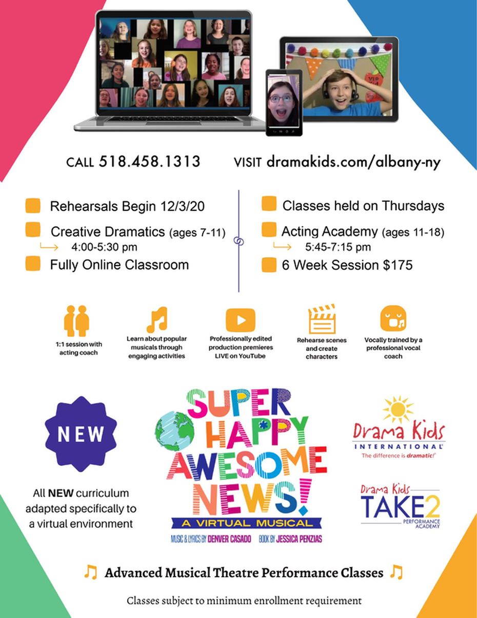 Drama Kids Albany Virtual Musical Performance Program for kids & teens